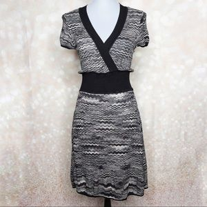 BCBG MAXAZRIA Black and Gray Marled Dress Size Lg